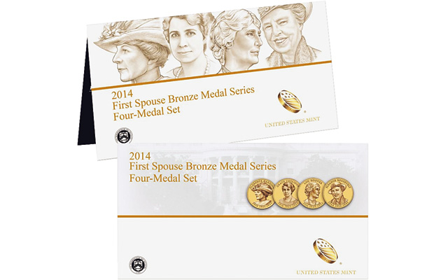 The 2014 First Spouse Bronze Four-Medal set is reported sold out by the U.S. Mint.