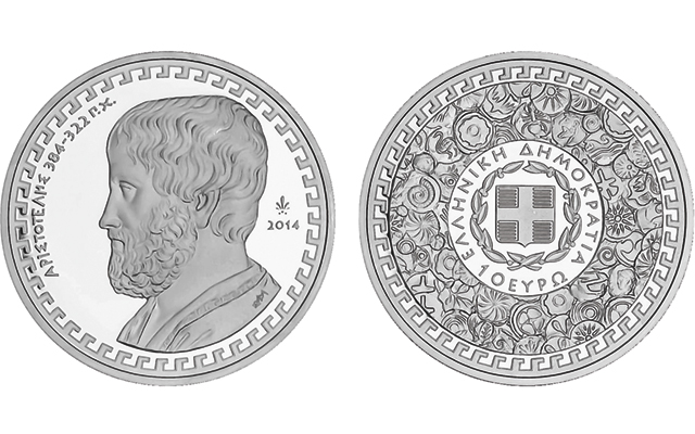 Greek philosopher Aristotle subject of new 'Greek Culture' Proof silver €10 coin