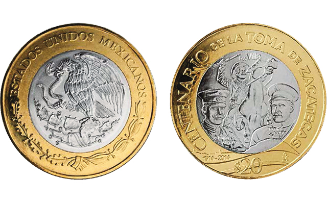 Mexico S New Circulating 20 Peso Coin Marks Battle Of Zacatecas
