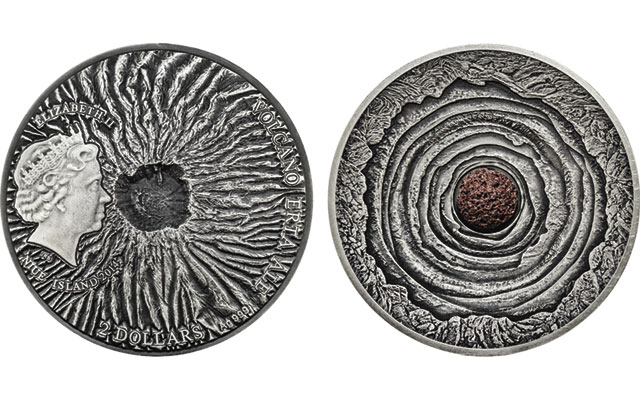 Two-ounce silver Volcano $2 coin from Niue is convex in shape