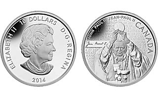 Pope John Paul II 2 Canonization 2014 $10 Silver Proof Coin Royal Canada Mint