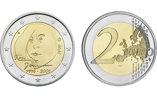 Finland honors children's author Tove Jansson with circulating commemorative 2-euro coin