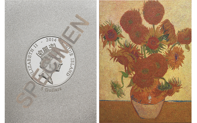 New silver $5 coin from Niue begins art series with Van Gogh's 1888 Sunflowers