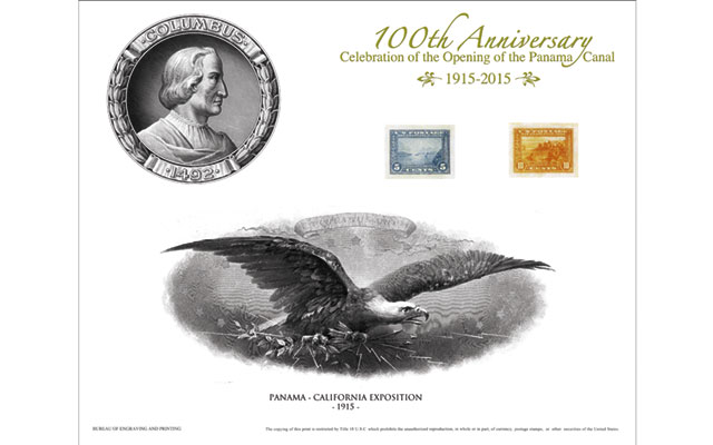 Centennial of the Panama Canal opening focus of designs on BEP intaglio cards