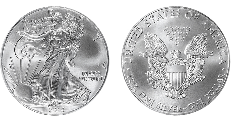 2015 American Eagle silver bullion coin struck at the Philadelphia Mint