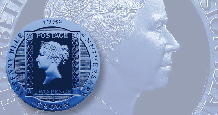 Pobjoy Mint honors stamp anniversary with colored 'two penny blue' crown coin