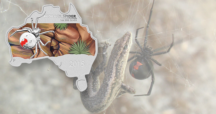 Perth Mint's map-shaped silver dollar shows Australia's redback spider