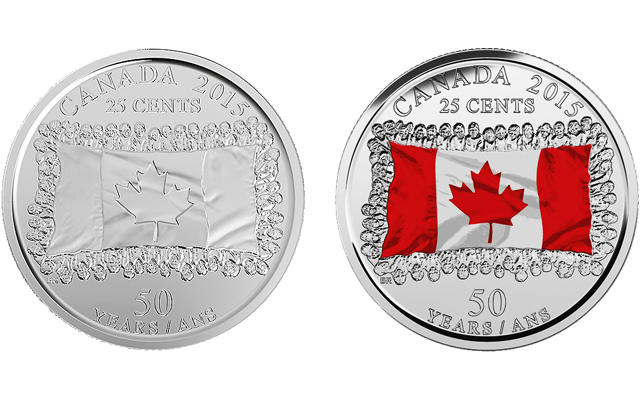 Canada celebrates its flag on circulating commemorative 25-cent coin