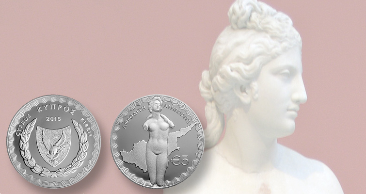 Coin from Cyprus celebrates statue of Aphrodite found on the island