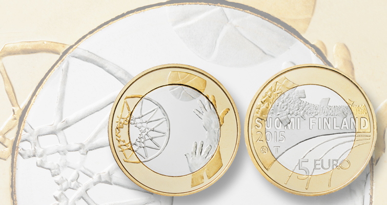 Mint of Finland €5 basketball coin part of set honoring popular games of Finland