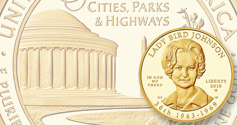 Sales of Lady Bird Johnson First Spouse gold $10 coins start