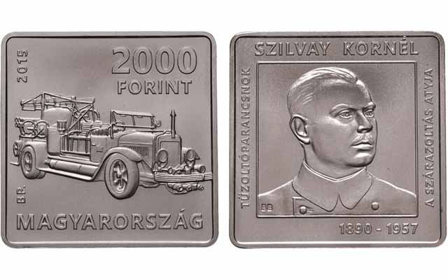 Hungary 2000 forint 2015 Kornel Szilvay Firefighting Fireman Square Coin PP