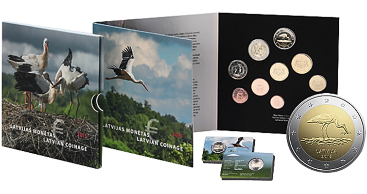 Stork returns to nest on Latvian circulating commemorative €2 coin