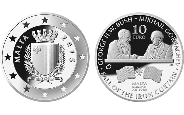 American President George H.W. Bush on coins marking end of cold war