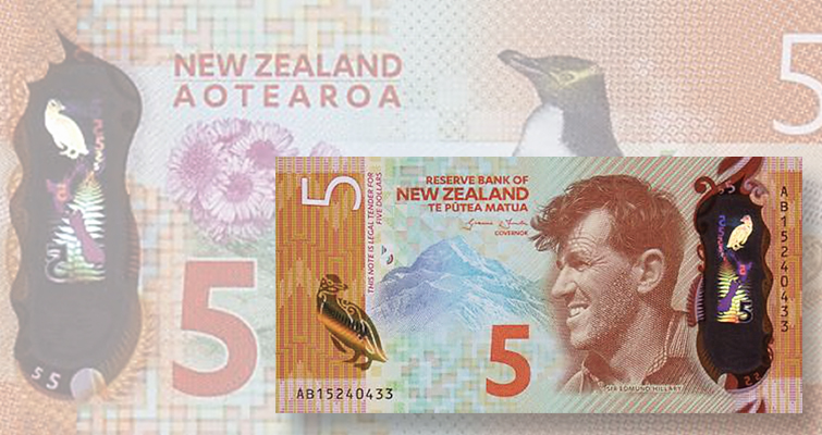 New Zealand $5 note wins IBNS Banknote of the Year Award
