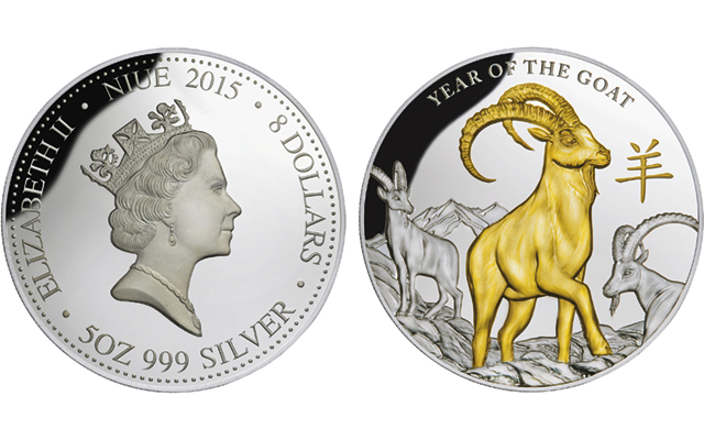 Niue marks upcoming Chinese Year of the Goat on gold-plated silver $8 coin