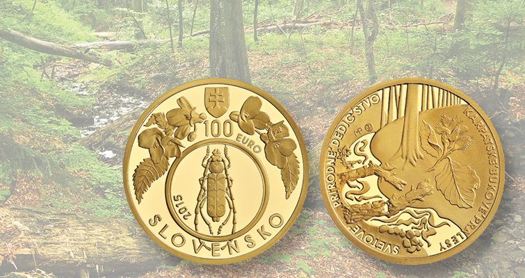 Slovakian gold €100 coin highlights region's natural wonders in Carpathian Mountains