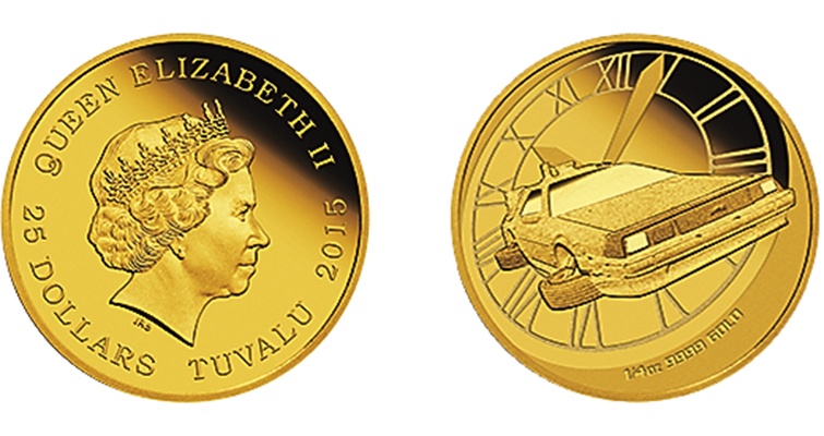 The third coin in the Back to the Future release depicts the time-traveling DeLorean against a clock face, resembling the time of Marty McFly's departure to the future, presented in a quarter ounce of .9999 fine gold.
