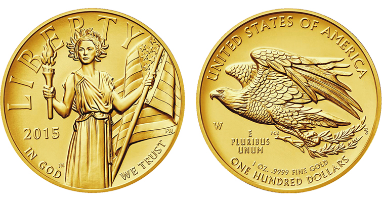 2015-W American Liberty, High Relief gold coin to be 1-ounce, $100 face value issue