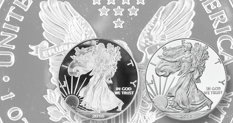 2015-W Silver Eagle Proof Fake & Genuine obv over fake rev Lead