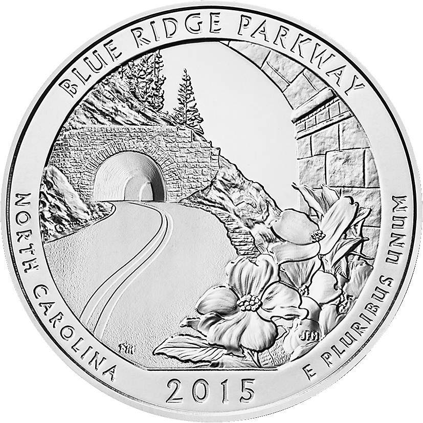 Uncirculated Blue Ridge Parkway 5-ounce silver quarter in July