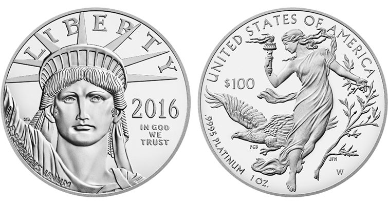2016 American Eagle platinum one ounce Proof coin merged