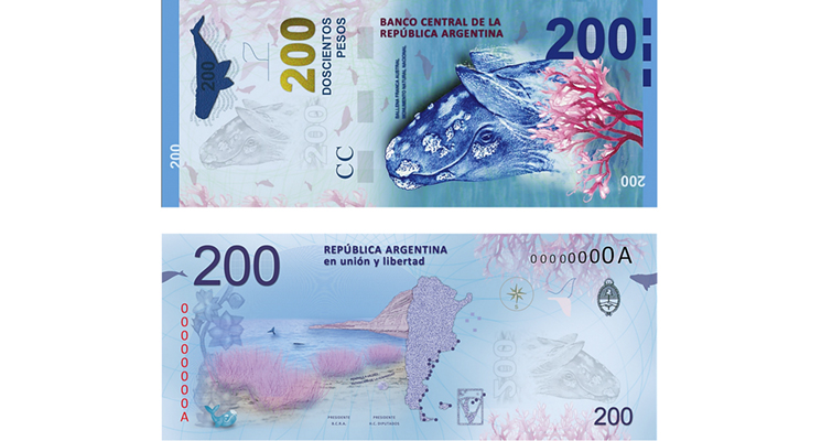 New 200-peso note of Argentina