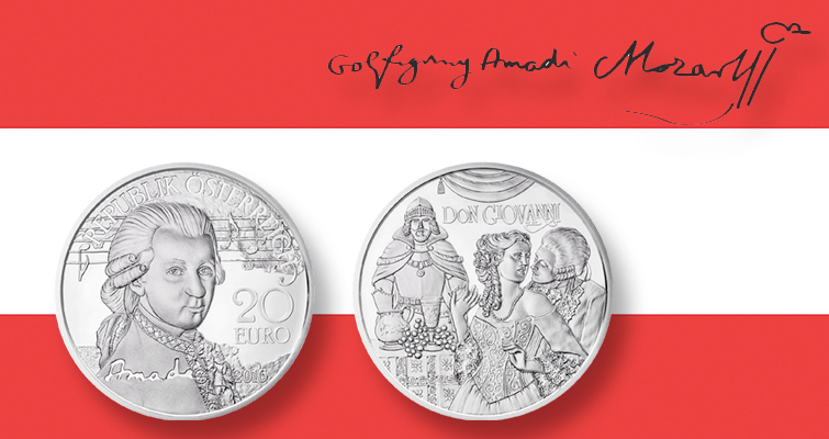 Composer Mozart returns on 2016 Austrian silver commemorative coin