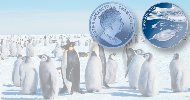 Emperor penguins frolic on titanium coin from British Antarctic Territory