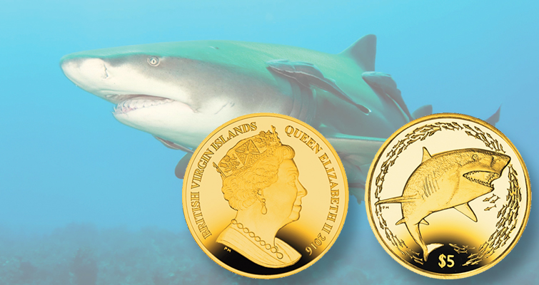 Lemon shark is subject of colorful titanium coin from Pobjoy Mint