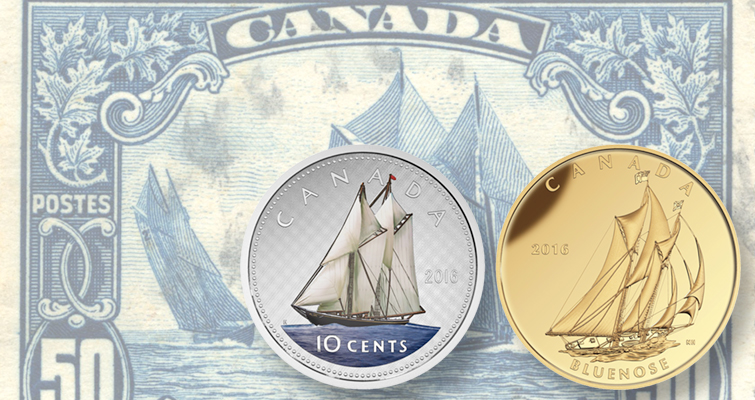 Canada honors Bluenose schooner on large 2016 coins