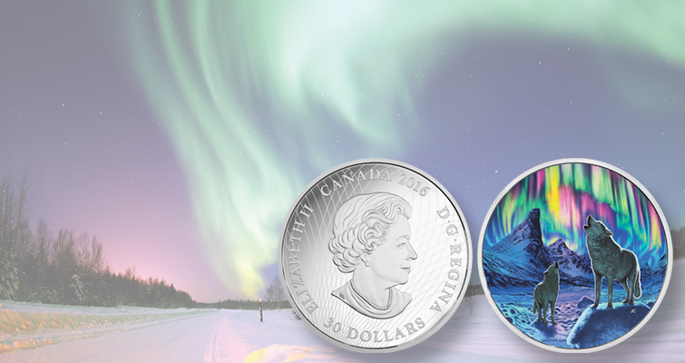 Northern Lights glow in the dark, in color, on 2016 Canadian coin