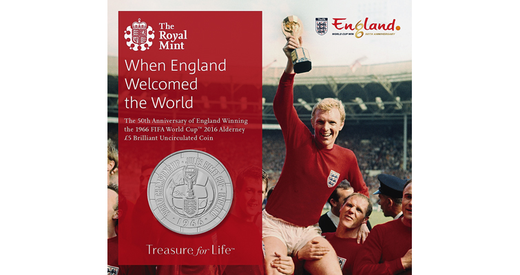 Brilliant Uncirculated copper-nickel £5 coin from Alderney for 1966 FIFA win