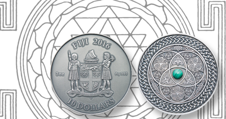 Silver mandala coin from Fiji blends Celtic, Eastern influence