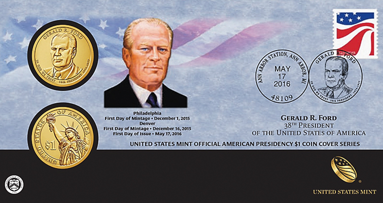 2016 Gerald Ford Presidential dollar coin cover