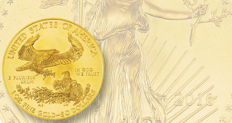 How do sales of 1-ounce gold American Eagles in 2016 compare to last year?