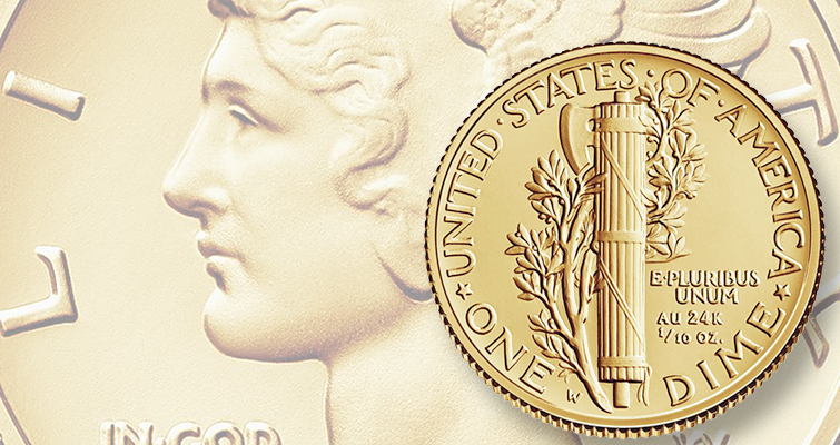 Gold 'Mercury dime' already unavailable, 'Silly Head' cent sells: Week's Most Read