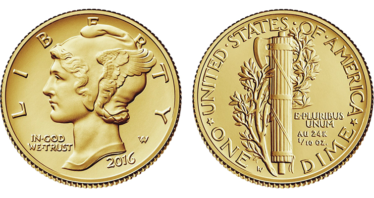 The Uncirculated 2016-W Winged Liberty Head dime is a .9999 fine gold version of the .900 fine silver dime initially introduced in 1916.