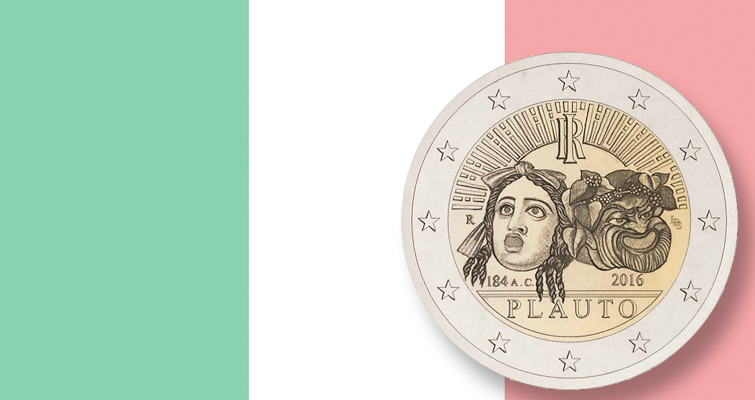 Italian playwright Plauto receives due on 2016 €2 coin