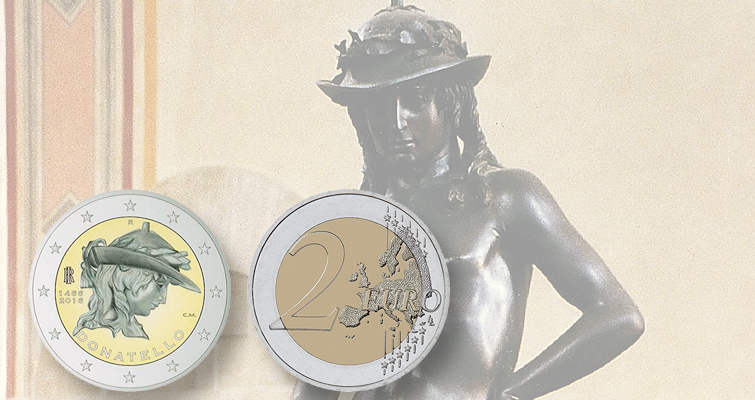 Italy commemorates artist Donatello on circulating €2 coin in 2016