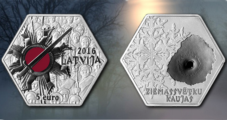 Latvia memorializes Christmas Battles on 2016 silver €5 coin