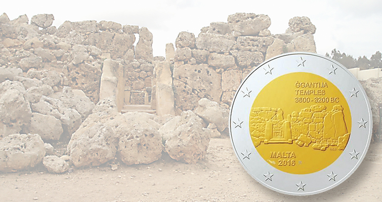 Malta's new circulating commemorative €2 coin shows megalithic temple