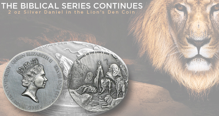 Silver coin from Scottsdale Mint tells story of Daniel in the Lion's Den