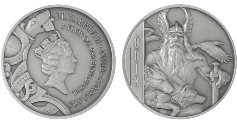 2016 Niue silver $5 Odin coin obverse and reverse