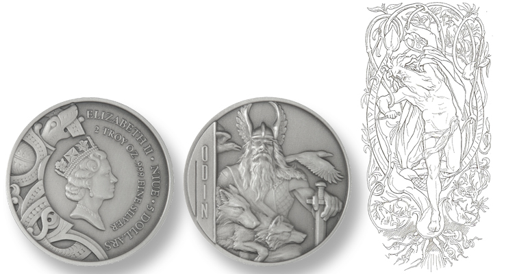 Norse god Odin in ultra-high relief on silver collector coin