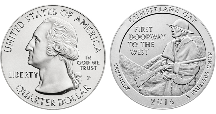 2016-P Uncirculated 5-ounce silver Cumberland Gap merged