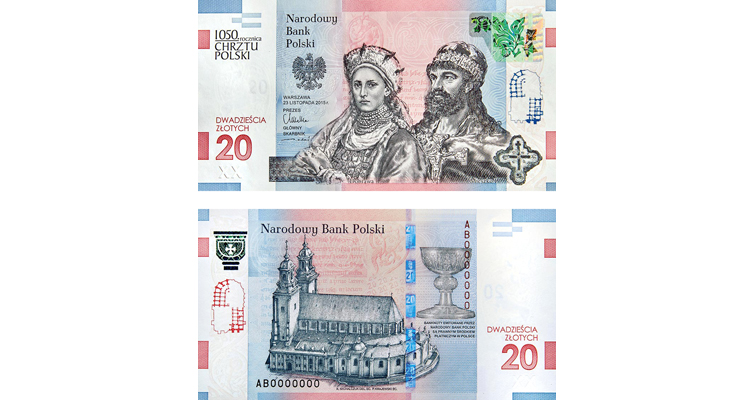 commemorative 20-zloty note for 1,050th anniversary of the Baptism of Poland