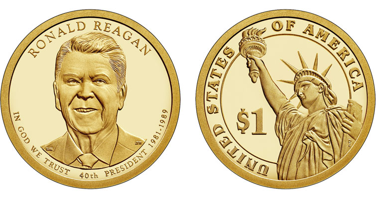 2016 Presidential dollar coin Ronald Reagan Proof merged
