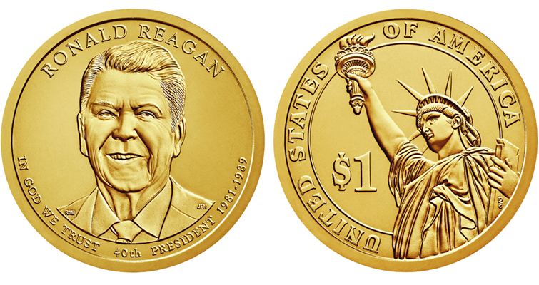 2016 Presidential dollar Ronald Reagan Uncirculated merged