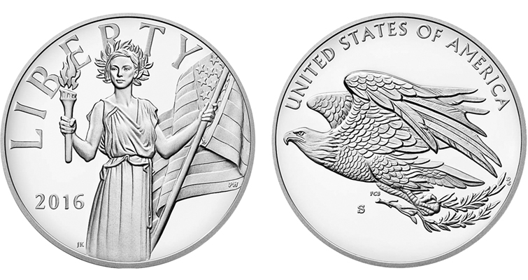 The American Liberty silver medals are struck in Proof on the same 1-ounce .999 fine silver blanks as American Eagle silver dollars. Illustrated is the strike from the San Francisco Mint bearing the facility's S Mint mark.